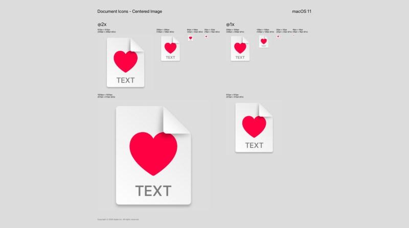 MacOS 11 document icon grid