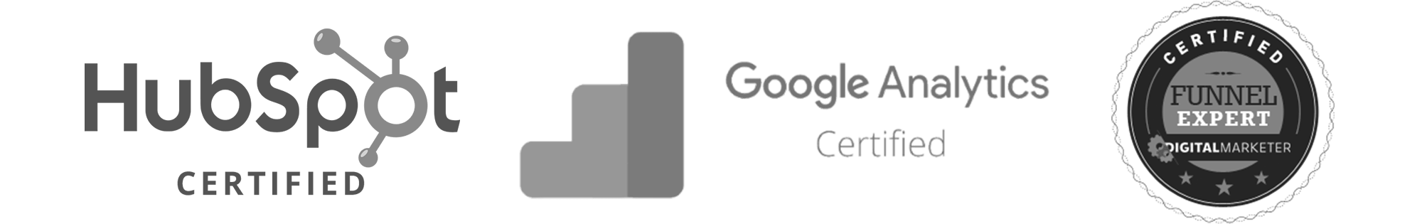 HubSpot Certified Google Analytics Certified DigitalMarketer Funnel