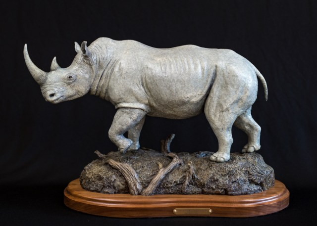 The bronze 'Southern Treasure' of a rhino by Devon Row.