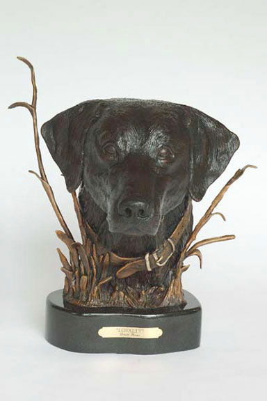 The bronze sculpture 'Loyalty' features a labrador's head.