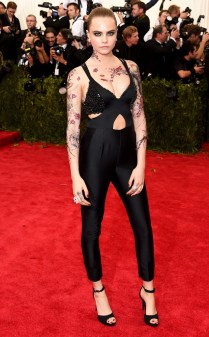 Cara Delevingne at the 2015 Met Gala on May 4, 2015 at the Costume Institute Benefit Gala at the Metropolitan Museum of Art in New York.