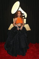 Rihanna on the 59th annual Grammy Awards red carpet in Los Angeles on February 12, 2017.