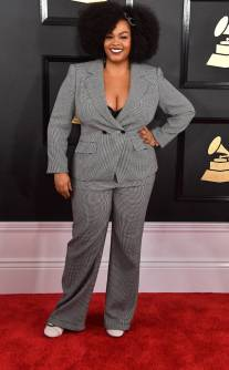 Jill Scott on the 59th annual Grammy Awards red carpet in Los Angeles on February 12, 2017.