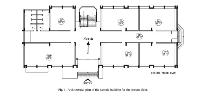 Architectural plan of the sample building for the ground floor.