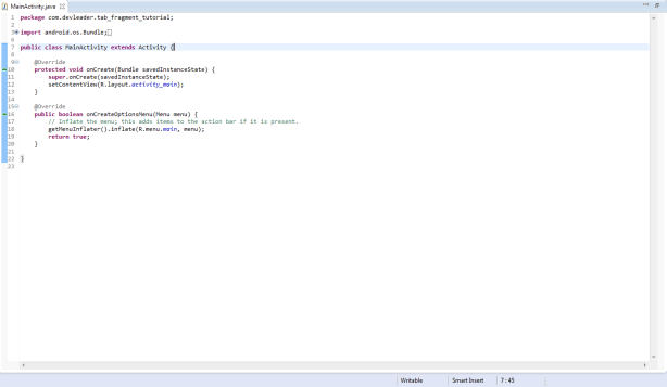 Tab Fragment Tutorial - Initial Main Activity Class