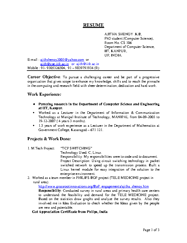 Computer science is a particularly fascinating field because of its wide variety of applications. Bsc Computer Science Resume Pdfsimpli