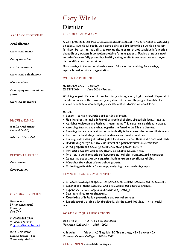 97 Nutrition Resume Examples Place Order View Sample