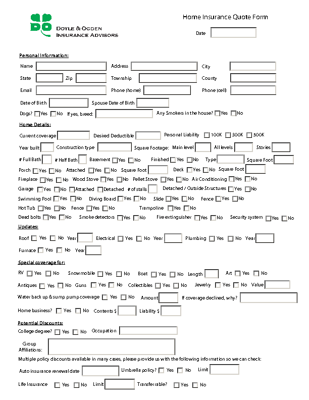 Home Insurance Quote Form Pdfsimpli