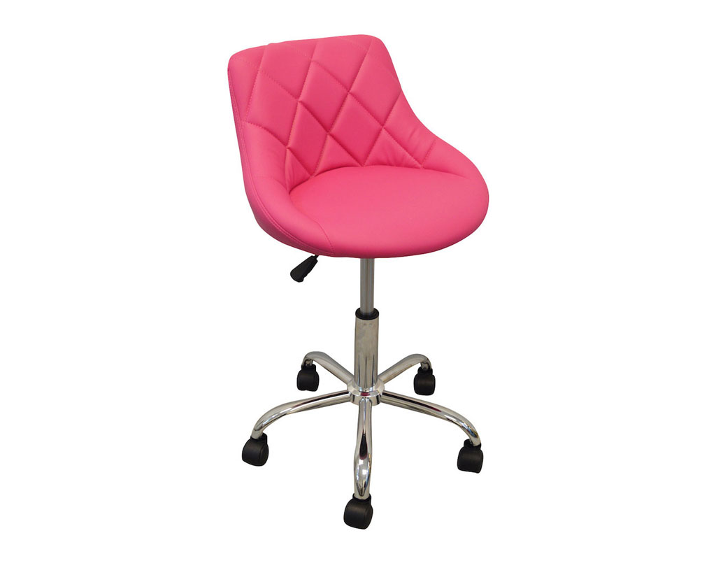 pink stool chair red desk modern salon nail pedicure manicure medical adjustable swivel