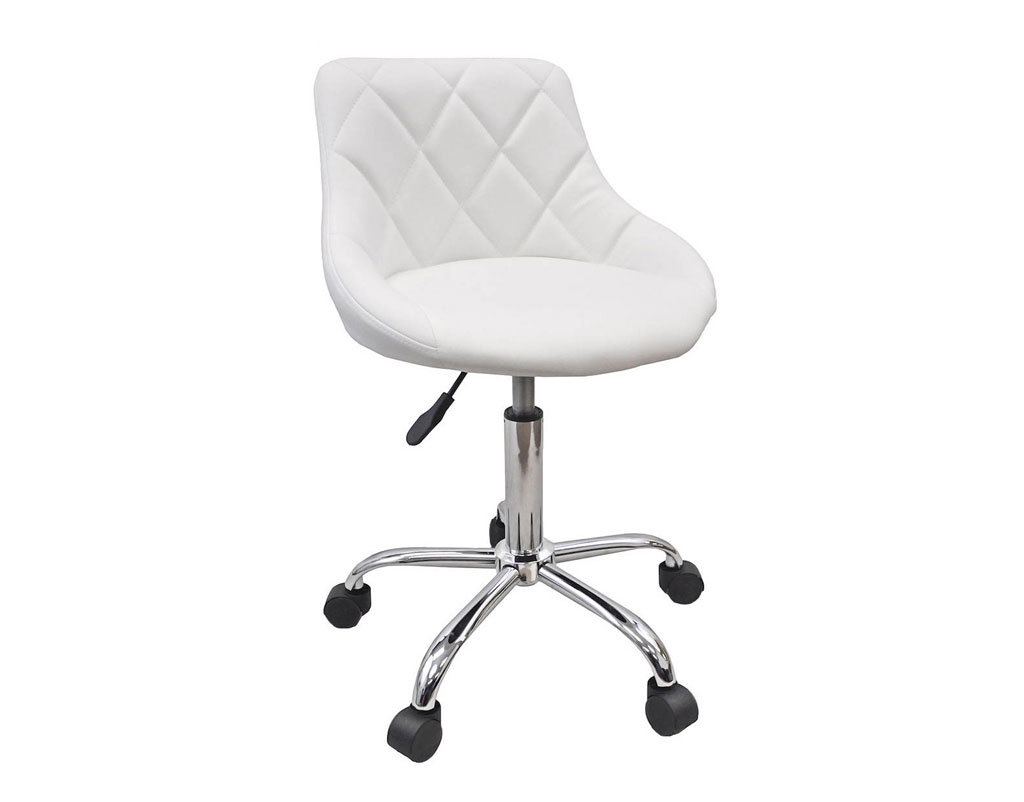 White Rolling Chair Salon Nail Pedicure Manicure Medical Adjustable Swivel