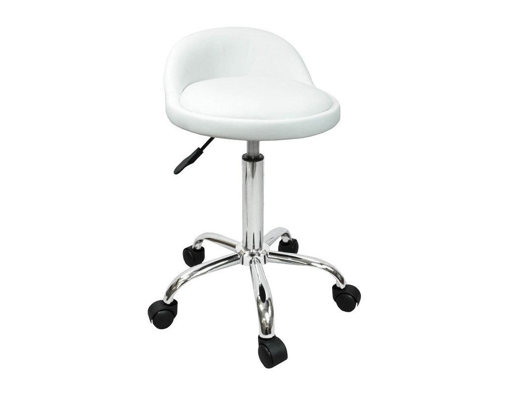 White Rolling Chair Salon Stool With Back Rest Saddle Hydraulic Spa Stool