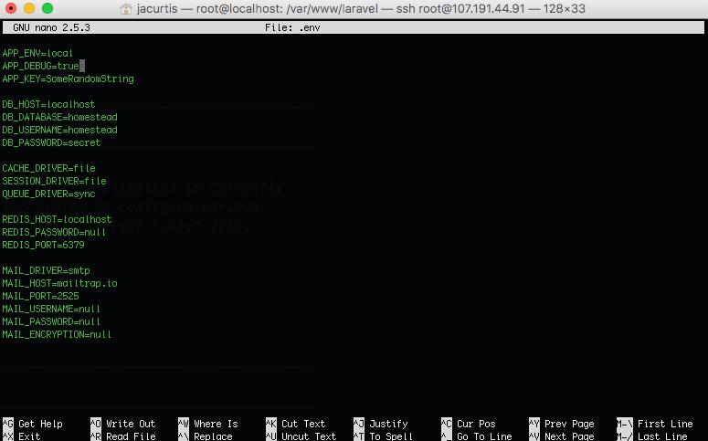 Edit the .env file