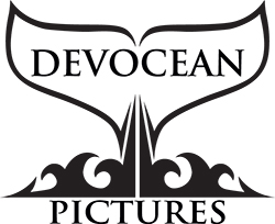 Our logo: stylised whale fin and waves with Devocean Pictures