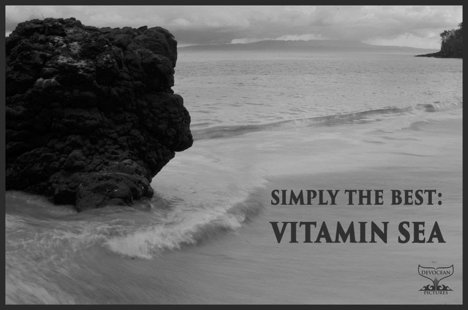 Postcard Warm regards from Devocean Pictures: Simply the Best: Vitamin Sea showing beach with waves in black and white with rock on the left, Bali, Indonesia.