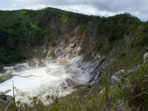 View into the crater of volcano Mahawu (Minahasa Highland, North Sulawesi, Indonesia)