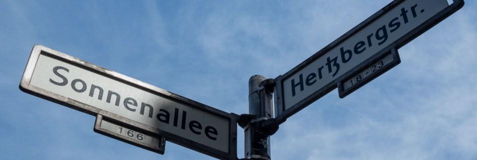 Streetsigns: Sonnenallee and Hertzbergstr. in Neukölln, Berlin.