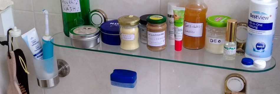 Why less is more: Starting with DIY care products. Pictuure of bathroom products made so far along side the ones that are still used conventionally: deodorant, face mask, hand creme, perfume, mouth wash.