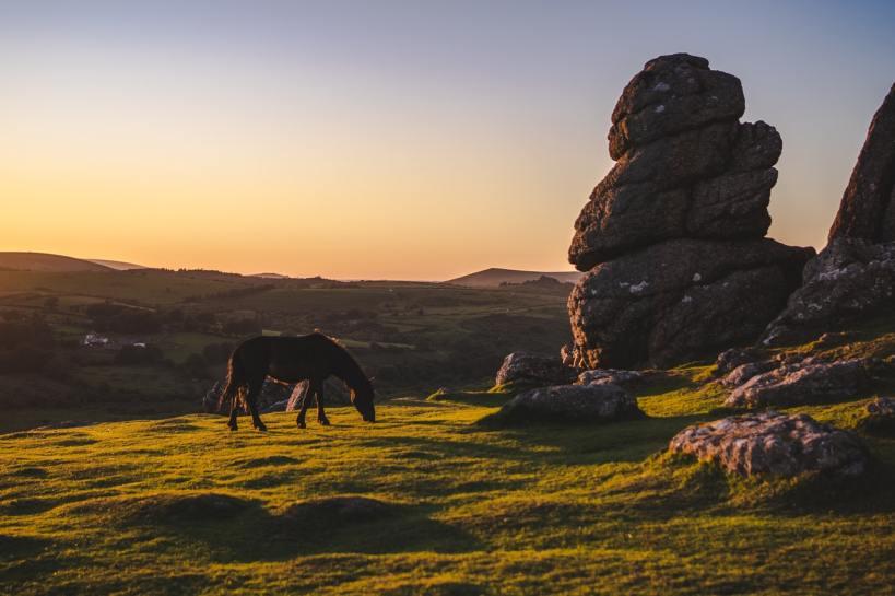 the beautiful Dartmoor landscape in Devon