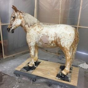 paint stripping, fiberglass horse