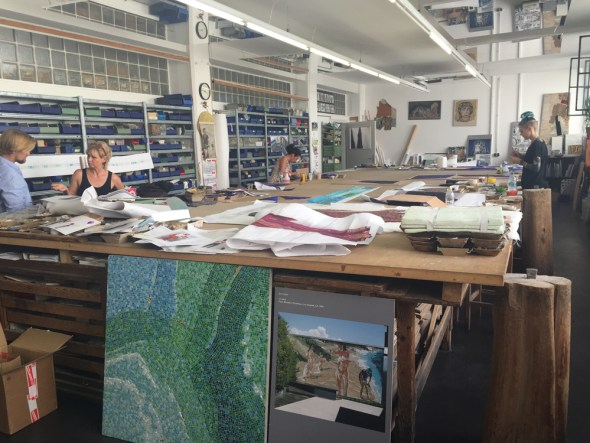 Mosaic studio with sample board of Eric Fischl private commission in foreground