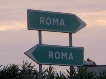 Road signs for Rome