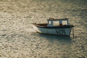 boat anchored at sea