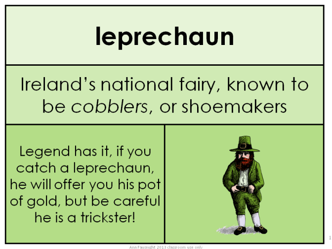 Leprechaun Free Word of the Day card