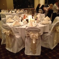 Cream Chair Covers For Weddings Velvet Dining Chairs And Table White With Ivory Sashes Wedding Northwest Indiana | Devoted ...