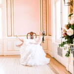 bride kicking her feet up in a chair -Cairnwood Estate Wedding Shoot