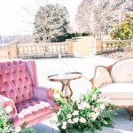 wedding lounge setup with vintage sofa and chair and wedding flowers -Cairnwood Estate Wedding Shoot