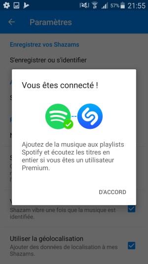 Connexion de Shazam à Spotify
