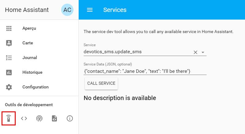"""Capture d'écran de l'appel de service Home Assistant, le service """"devotics_sms.update_sms"""" est sélectionné et le champ """"Service Data"""" est rempli avec du JSON."""