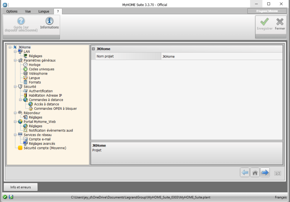 Ecran de configuration du serveur web