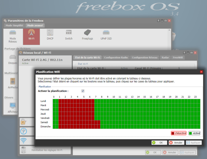 Freebox - Planification WIFI