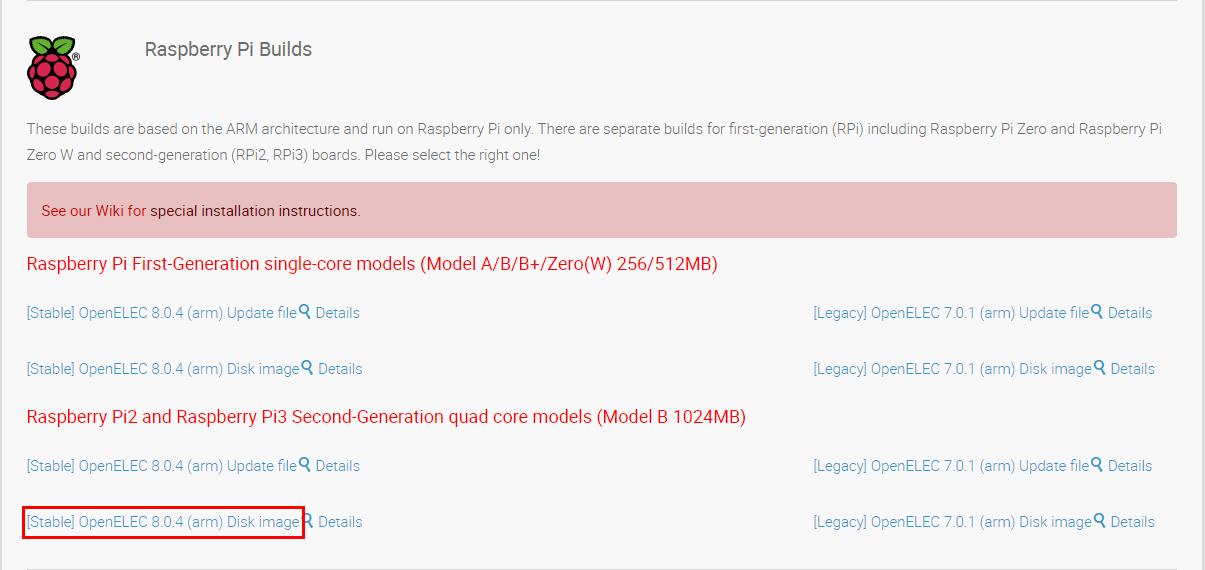 Téléchargement sur le site OpenElec