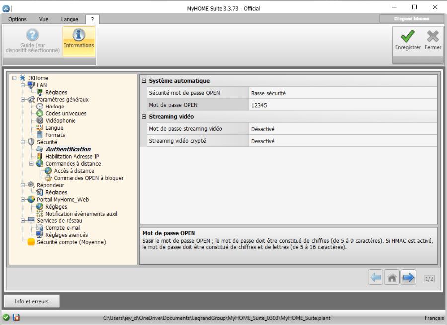 Configuration du mot de passe OPEN
