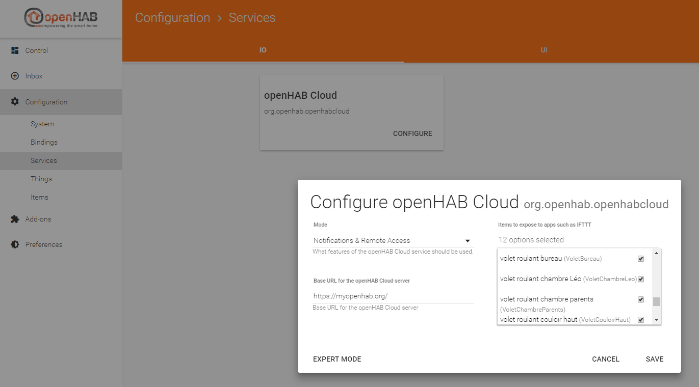 Configuration de l'extension Cloud Connector