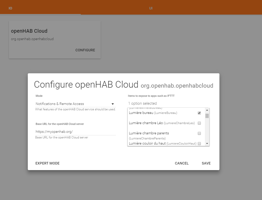 openhab - configuration cloud 2