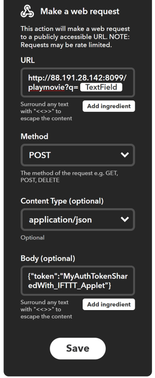 Configuration du Webhooks dans IFTTT