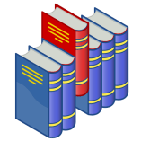 http://commons.wikimedia.org/wiki/File:Bookshelf_icon_(red_and_blue).svg
