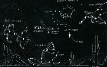 summer constellations with doves & woman