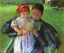 Babysitting - Cassatt Mary Nurse Reading to a Little Girl - 1895 - Wikipedia - US Public Domain