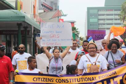 FWCC and other Fijian NGOs marching through Suva to mark World Human Rights Day. Photo: FWCC Facebook