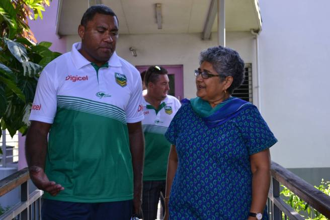 Former NRL star Petero Civoniceva with Shamima Ali at Fiji Women's Crisis Centre. Photo: FWCC Facebook