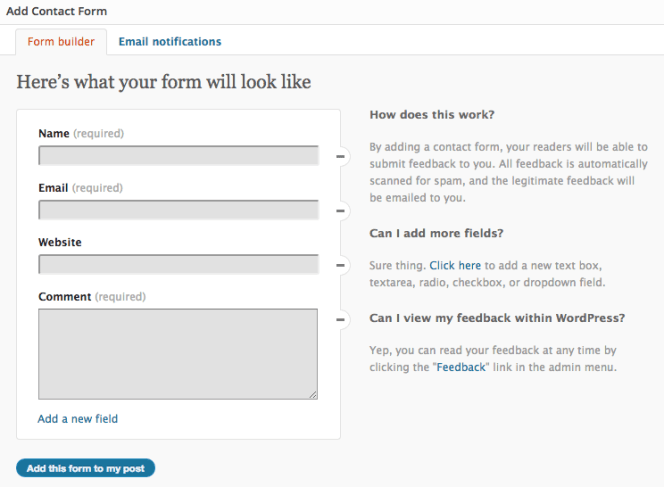 Contact form builder