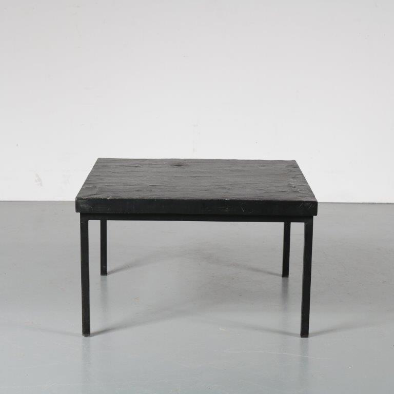 metal base with black slate stone top