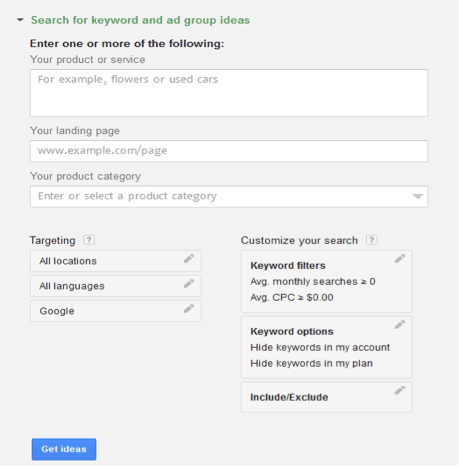 Keyword Research by Google KW Planner