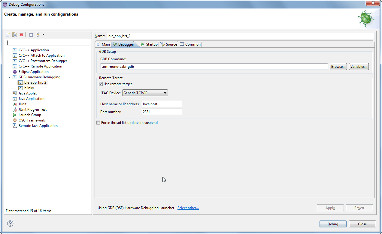 Problem running/debugging nRF51822 GCC example project - Nordic DevZone