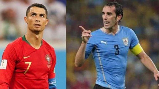 Pertarungan Cristiano Ronaldo dan Godin piala dunia 2018