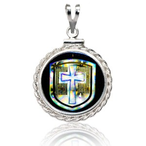 """Cross in the Shield"" NanoBible Diamond Cut Silver Pendant"